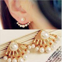 Wholesale Fashion double pearl stud earrings Korean Small Imitation Pearl Earrings Dragon Hand Ear Cuff Ear Stud New