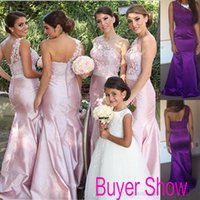 dress one size - Custom Pink One Shoulder Maid of Honor Dresses Lace Satin Covered Buttons Mermaid Long Bridesmaid Party Gowns Cheap Arabic Plus Size