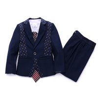 baby boy s cotton tuxedo - Boys wedding suit Baby boy Autumn clothing sets Kids Tuxedos Boys blazer suits Page boy outfits Kids Occasion suits
