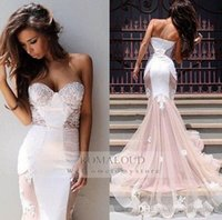Cheap 2015 Sexy galia lahav White Ivory Summer Beach Lace Beaded Ruffles Sweetheart Tulle Strapless Backless Mermaid Wedding Dresses Bridal Gowns