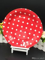 Wholesale 7 inches colored dot paper plates one time wave point paper plates birthday party party grill pan