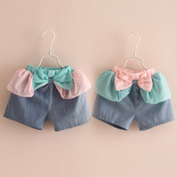 Cheap Wholesale-Boys Shorts Free Shipping Summer 2015 Korean Wholesale Cheap New Bow Girl Baby Children's Leisure Shorts Short Kz-3770