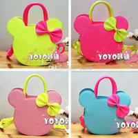 Cheap Cut Mouse Colors Designer Small Tote With Scarf for Girls Kids with PU Leather Handbag Children Bags