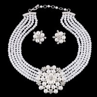 Wholesale Rhinestone Bridal Jewelry Set Pearl Crystal Flower Necklaces and Earrings Sets For Bride Wedding Bridesmaid Jewelry Sets