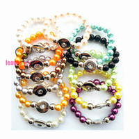 Wholesale new fashion Handwork mix color pearl Elastic mm Snaps Button Bracelet Ginger Snaps jewelry best gifts