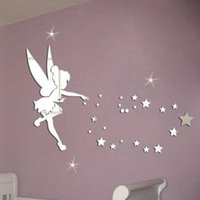 Wholesale DIY70x46 x18 inches Tinker Bell fairy princess and Star Girl Mirror cartoon stickers wall art wall decals