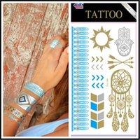 best face packs - 10Sheets pack Best Quality Temporary Metallic Tattoo Fashion Jewelry Fancy Flash Body Gold Tattoo Silver Bling Feather Necklace Waterproof