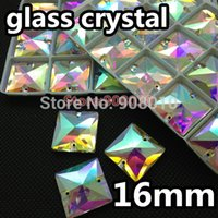 Wholesale box mm Square Sew on Rhinestone Crystal AB Color Flatback Holes Sewing Glass Crystal Stone Dress Making