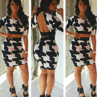 Wholesale 2016 new fashion Black and white printing bandage two sexy dress The classic backless Club Dress for women women clothing s l cheap