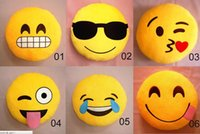 Wholesale 23 Styles Cushion Cute Lovely Emoji Smiley Pillows Cartoon Facial QQ Expression Cushion Pillows Yellow Round Pillow Stuffed Plush To