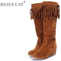 Nuevos 2015 invierno otoño botas botas Zapatos de las señoras de la rodilla Zapatos mujeres Cuñas Flock Velvet Tassel Marrón Beige Negro Moda QH3260