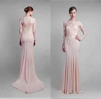 Cheap Lace Top And Chiffon Elegant Long Sleeve Evening Dresses Appliques Lace A Line Crew Neck Custom Made Full Length Prom Gowns Made In China