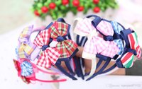 hair sticks - 50pcs Baby Girls inch Grosgrain Lattice Ribbon Bows Headbands Hair Band Headwear Children s Hair AccessoriesHair Ribbons Hair Sticks