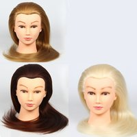 Wholesale Hairdressing Dolls Heads quot quot quot Real Human Hair Salon Hairdressing Practice Training Mannequin Head Free Clamp blond Browm