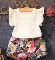 Cheap summer child outfits Best girls fly sleeve tops floral shorts