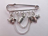 baby kilts - 12pcs Alice in Wonderland inspired Pig baby charm with chain kilt pin brooch mm