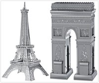 Wholesale DIY Metal Works Model Kits d Laser Cut Jigsaw Puzzle Toy Landmark Series France Eiffel Tower and Arch of Triumph