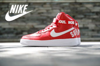 man and women - Nike AIR FORCE HIGH SUPREME SP Men and Women Skateboarding Shoes Fash shipping Fashion lover nike AF1 high top sport supreme Skate shoes