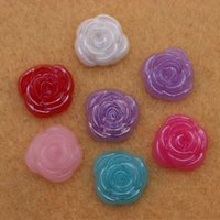 Wholesale 100Pcs Flatback Acrylic Rose Flower beads for Jewelry Embellishment Crafts Decoration DIY mm ZZ250