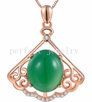 Wholesale Natural chalcedony necklace pendant Original green chalcedony sterling silver Perfect jewerly For men or women DH