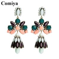 Cheap New brand crew green pink fashion flower brand long big dangle earrings for women 2014 bijoux innovative items brincos jewelry