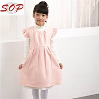 Wholesale new fashion children kids girl woollen pleated A lined knee length dress round neck for winter solid pink coulor