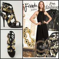 Wholesale 2015 Summer High Stiletto Heel and Gold tone Shoes Women Buckle fastenings Black Goatskin and leather Strappy Sandals Women Shoes