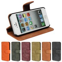 Cheap High Quality Scrub PU Leather Wallet Pouch Case Cover with Card Slot Photo Frame for iPhone 5 5S
