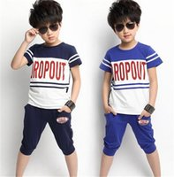 Cheap Cool Children Boys Summer Clothes Short Sleeve + Pants Pure Cotton Baby Boys Sport Clothes Kids Clothing New Arrival 2015 AF270