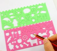 Wholesale 50sets Set Cute Art Graphics Symbols Drawing Template Ruler Student Children Stencil Rule School Stationery