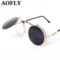 Wholesale VINTAGE STEAMPUNK Sunglasses round Designer steam punk Metal OCULOS de sol women COATING SUNGLASSES Men Retro CIRCLE SUN GLASSES