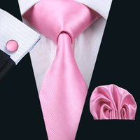 Pink Tie Hankerchief Mancuernas Conjunto Jacquard Woven Hombres Corbata Set Negocio Trabajo Reunión Formal Ocio N-0820