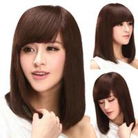 18,90 pollici bella ragazze cris 100% umano capelli Parrucche Dark Brown lungo BOBO capelli Parrucche con inclinato frangetta NMMJ3-5