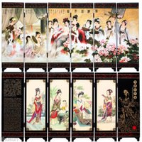 Wholesale Chinese Handmade Vintage Huaqing Pool Wooden Lacquer Six Pieces Folding Screen