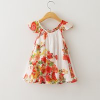 sundresses - 6pcs Kid Girls Summer Floral Dresses Frilled Sleeve Cute Cotton Sundress Princess Ruffled Casual Dress Red and Blue Color