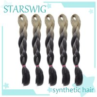Wholesale 5 pieces G inch Rice white and silver grey ombre Kanekalon Jumbo Braid Hair two tone color hariweaving