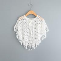 Cheap children poncho Best silver lace crochet tassel shawl