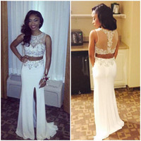 Wholesale Silk Dresses For Prom - 2016 New 2 Piece With Beaded Bodice Slit Side White Prom Dresses Cute Long Evening Gowns For Fashion Womens