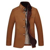 beige peacoat - Fall Winter wool windbreaker New fashion men Woolen coat winter jacket trench coat outerwear overcoat breasted peacoat men
