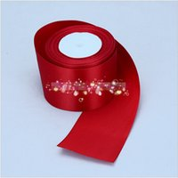 Wholesale 15 off high quality roll meters quot mm width red single face satin ribbon gift packing belt wedding decoration ribbon yards