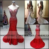 chocolate diamonds - Sweetheart Backless Red White Sexy Mermaid Evening Dresses Stunning Diamond Crystal Beaded Sweep Train Party Evening Gowns Plus Size