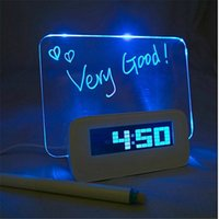 Wholesale LED Luminous Digital Alarm Clock Calendar Fluorescent Message Board USB Hub