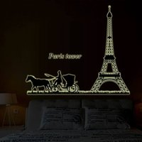 Cheap Wall Stickers Home Décor Paris Tower Wagon Luminous Stickers Fashion DIY Home Decoration PVC Removable Wall Stickers WS4044