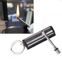 metal match lighter - Waterproof Outdoor Camping Survival Matches with Key Chain Metal Smoking Permanent Match Striker Lighter