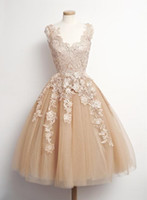 Cheap Hot Sale 2015 paolo sebastian Lace Champagne Short Prom Dresses V Neck Sleeveless Tulle Dresses Party Teen Custom Made Cheap Homecoming Dres