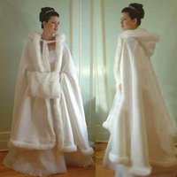 Wholesale New White Winter Wedding Cloaks Wrap Hooded Satin Bridal Cape With Fur Trim High Quality Jacket Coat For Bridal