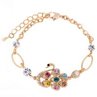 Wholesale Women s Swan Design Bracelet Colorful Crystals Bangle Love Friendship wristband bracelet