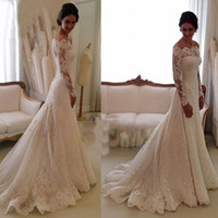 Wholesale 2015 Mermaid Wedding Dresses Off the Shoulder Lace Appliques Long Transparent Sleeve Fit and Flare Covered with Button Long Bridal Dresses