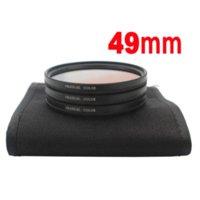 Precio de Filtro uv nex-49mm Gradual Color graduado naranja + azul + gris Filtro de lente 3pcs / set con el caso de la lente de la cámara Sony NEX lente rx