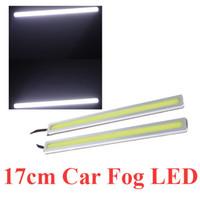 Wholesale Hot Sale cm W COB LED DRL Car Daytime Running Light Car Fog Lamp Light Bar White V LED Lamp Bulbs Turuning light free shi